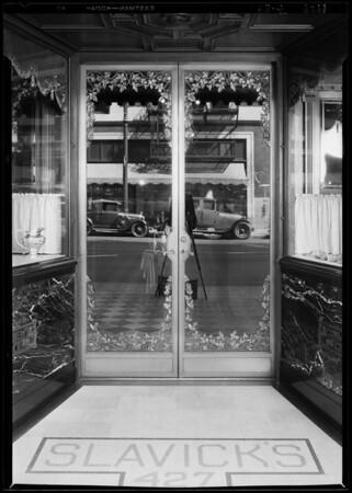 Doorway & store, Slavicks Jewelry Co., Southern California, 1929