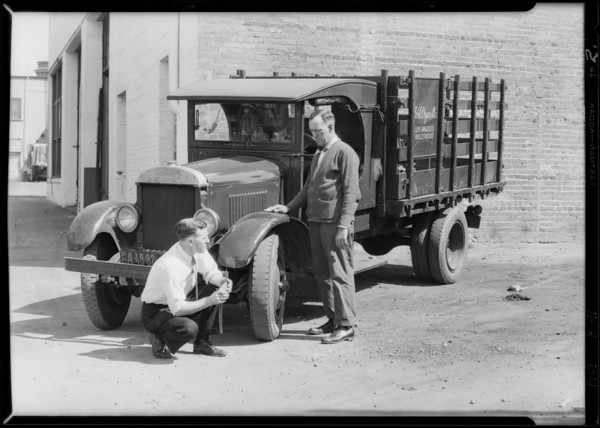 Truck gone 41,000 miles, also stock room, Southern California, 1929