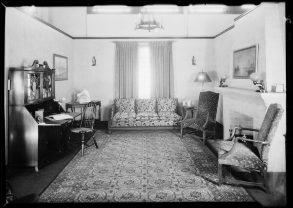 Interiors of model home, May Co., Southern California, 1929