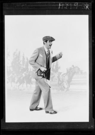 Copy composite, race horses and man, Southern California, 1929