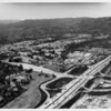 Aerial view of the San Diego Freeway (US-405) at Wilshire Boulevard United States Soldiers Home which was once part of Beverly Hills