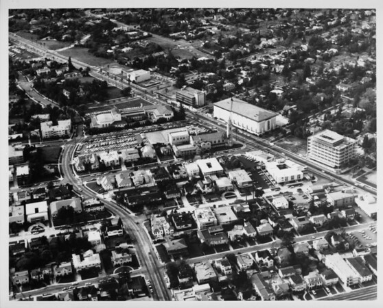 Aerial view facing northwest over Wilshire Boulevard and Lucerne Boulevard
