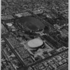 Aerial photo facing west over the Coliseum and Sports Arena in Exposition Park