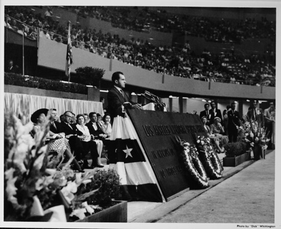Los Angeles Memorial Sports Arena, interior view, Memorial Day dedication ceremony, Richard Nixon at podium
