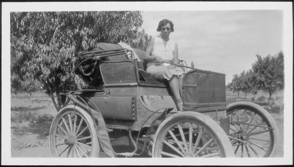Old automobiles belonging to Arthur E. Twohy, Southern California, 1930