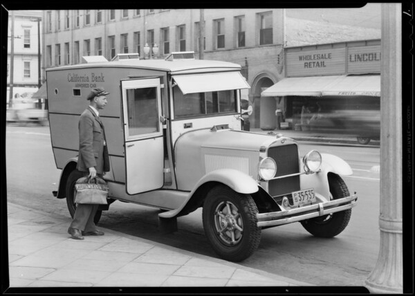 California Bank armored car, Southern California, 1930