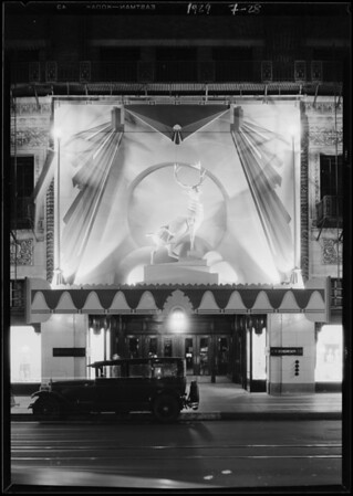 Elk's displays at night, Southern California, 1929