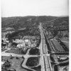 Aerial view of the 405 looking north from Wilshire Boulevard along Sepulveda Boulevard