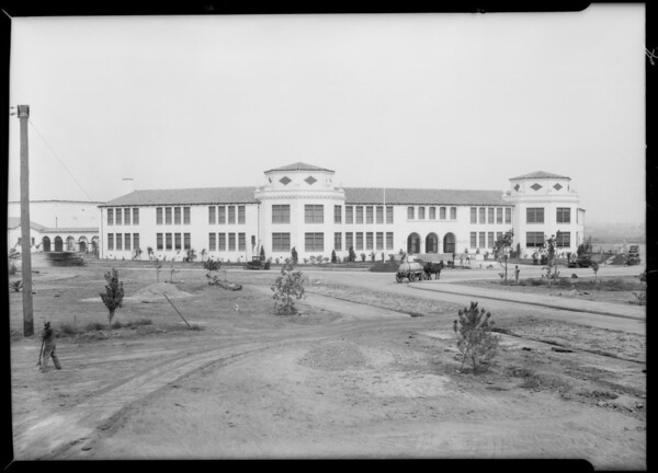 School building, apartment house, houses, Southern California, 1929