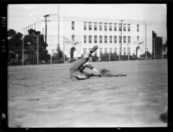 Publicity and action shots, police department football team, Southern California, 1929