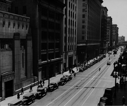 Spring Street, Los Angeles Stock Exchange at 618 South Spring Street, Mortgage Guarantee Building, Bank of America, Corporation Building, Occidental Life Building