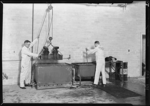 Turco tanks in repair shop, Southern California, 1929