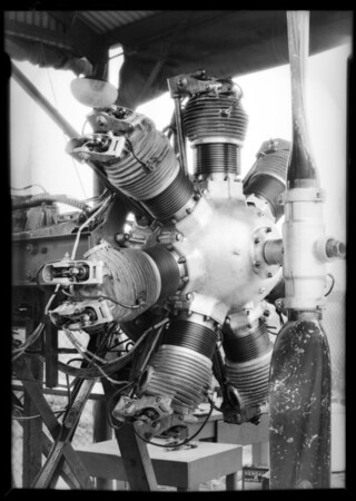 New motor in testing block, Southern California, 1929