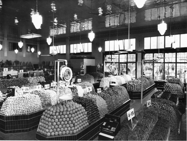 Inside a fresh produce market