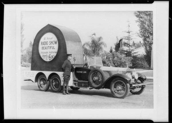 Advertising Rolls-Royce for postcards, Southern California, 1931