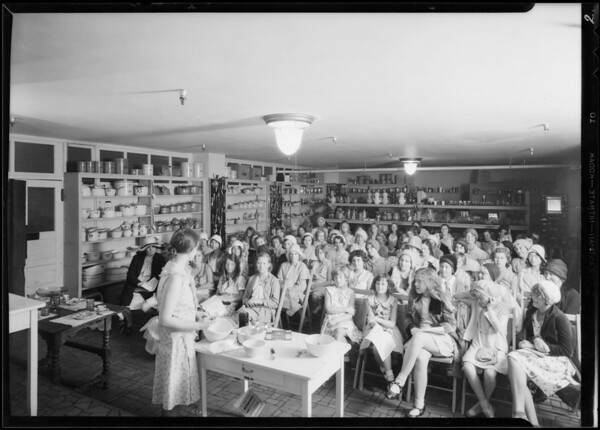 Cooking school at Barker Bus conducted by Mrs. Marion Rogers Spencer, Southern California, 1930