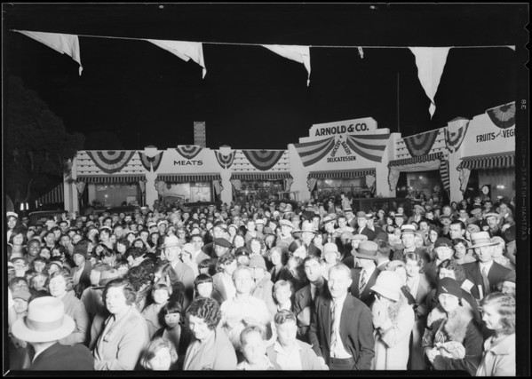 Opening market, West 30th Street & South Western Avenue, Southern California, 1930