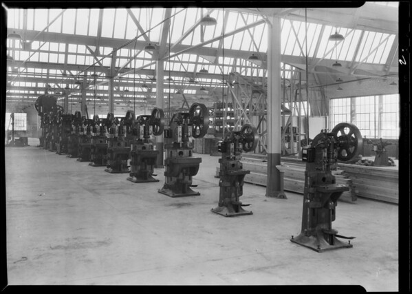 Woodlite factory, interiors and exterior, Southern California, 1930