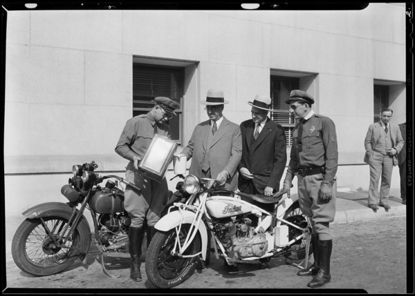 Motorcycle run on Economy gas, Southern California, 1930