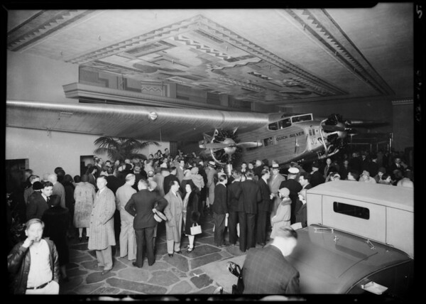 Opening of showroom on Wilshire Boulevard, Southern California, 1930