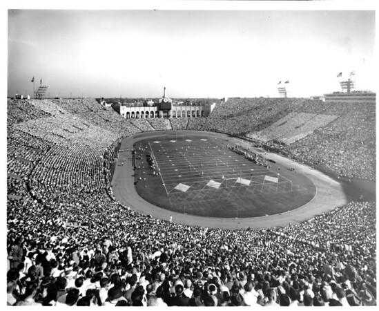 A football game in the Coliseum at Exposition Park