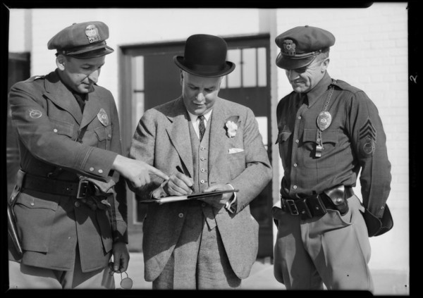 Governor James Rolph Jr. signing Silvertown Safety Pledge, Southern California, 1931