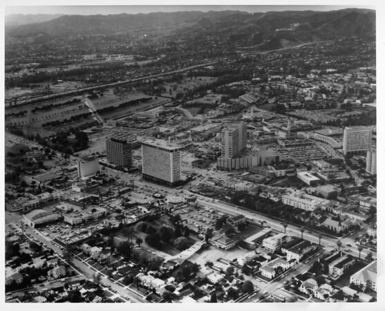 Aerial view of Wilshire Boulevard and Westwood Boulevard