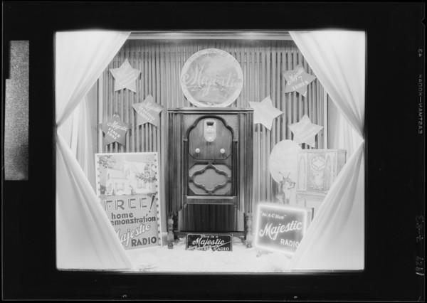 Small window display in stock room, Majestic Radio, Southern California, 1929