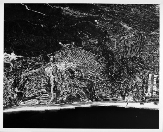 Aerial view looking east over Pacific Palisades north of Santa Monica
