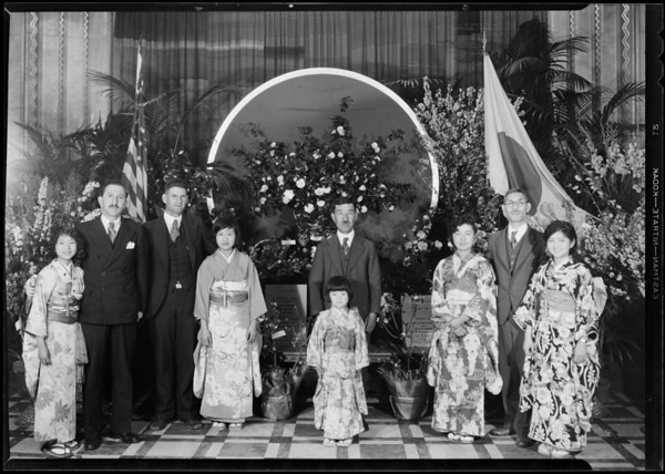 Flower show with Japanese girls, Southern California, 1931
