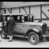 Yellow Cab & shopper, Southern California, 1930