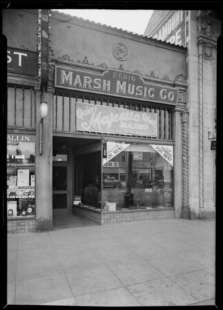 Store front for Majestic franchise, Marsh Music Co., 5522 Santa Monica Boulevard, Los Angeles, CA, 1930