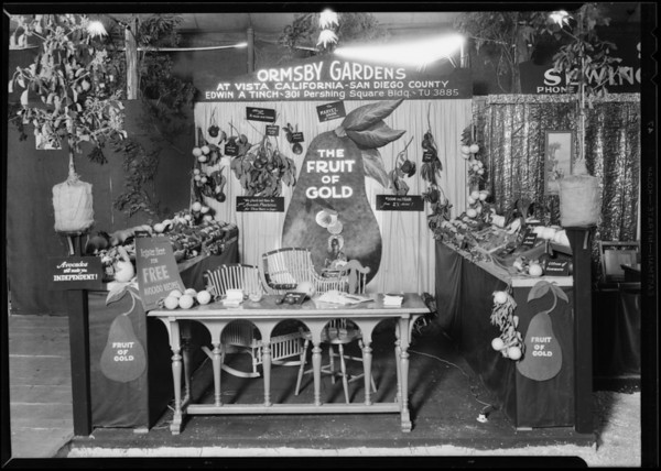 Ormsby Gardens booth at California land show, Southern California, 1930