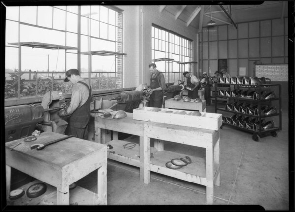 Buffers at Woodlite factory, Hollydale, South Gate, CA, 1930