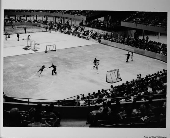 Los Angeles Memorial Sports Arena, interior view, Memorial Day dedication ceremony, figure skating demonstration