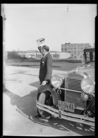 Mr. Christian and car for composite with train, Southern California, 1930