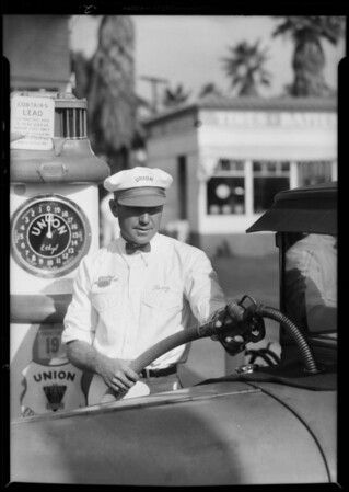 New uniforms at service station, Southern California, 1931