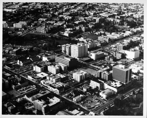 Aerial view facing north over Westlake above Wilshire Boulevard between Park View Street and Commonwealth Avenue