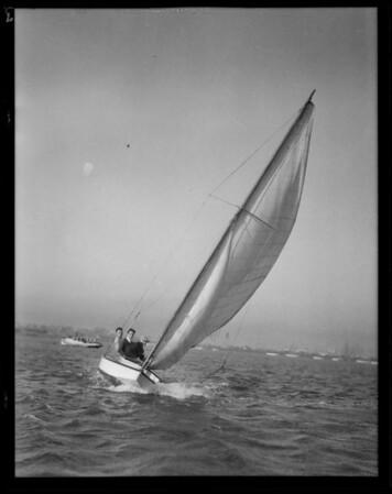 Model yachts at Cabrillo Beach, Los Angeles, CA, 1930