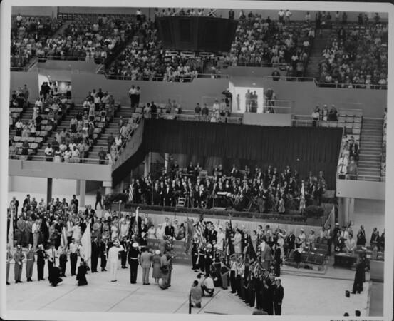 Los Angeles Memorial Sports Arena, interior view, Memorial Day dedication ceremony, Richard Nixon, podium