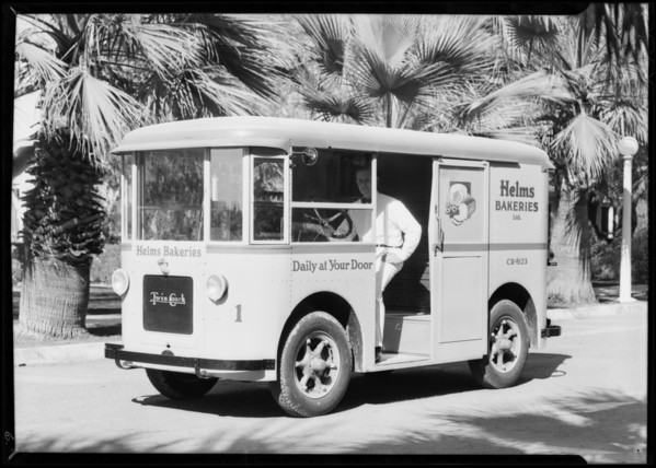New trucks and drivers, Helms Bakeries, Southern California, 1931