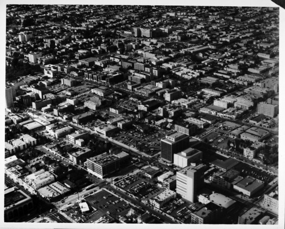 Aerial view facing north over the Westlake district of Los Angeles, just east of MacArthur Park