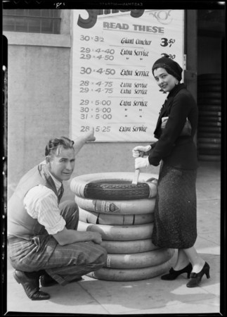 Tire sale publicity, Federal Tire Co., Southern California, 1931