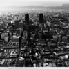 Aerial view over Downtown Los Angeles facing west down Sixth Street towards Bunker Hill