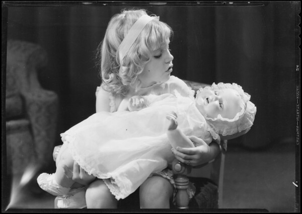Doll with Mary Alice, car, & wagon with Donald Carter, Southern California, 1931