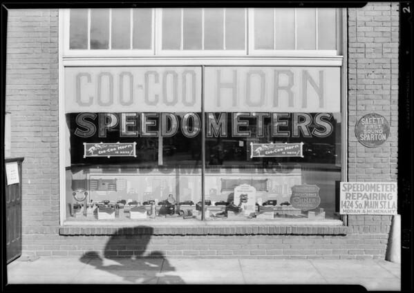 Moran & McMenamy window, 1424 South Main Street, Los Angeles, CA, 1929