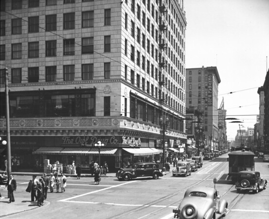 Main Street, looking north at Seventh Street, The Owl Drug Company, Central Building