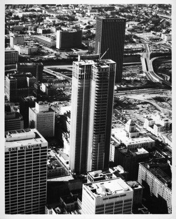 Aerial view of the AT&T Building in Downtown Los Angeles across Sixth Street from the Central Library