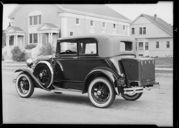 Trunk on car, Lambert Co., 941 Venice Boulevard, Venice, Los Angeles, CA, 1931