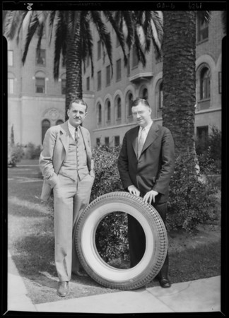 Eastern representatives of tires & Prest-O-Lite battery, Southern California, 1929